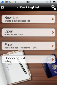 uPackingList app for iPhone, iPad - choosing list