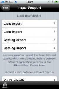 uPackingList app for iPhone, iPad - exporting and importing trip list