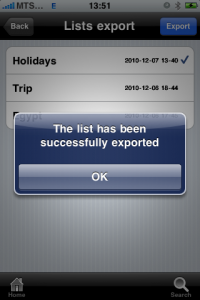 uPackingList app for iPhone, iPad - exported-list