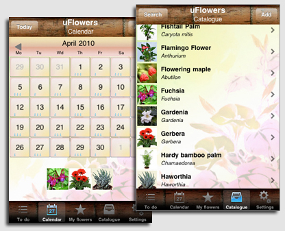 uFlowers - iPhone app for watering reminding