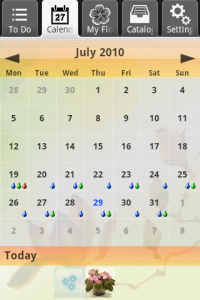 first android app uFlowers - Calendar