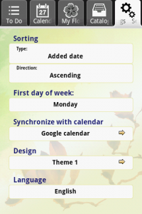 first android application - Tab-settings