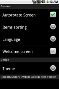 uPakingList Android: General Settings