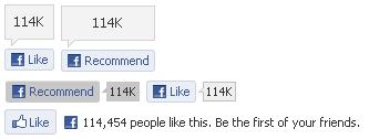 Facebook Like button: button types