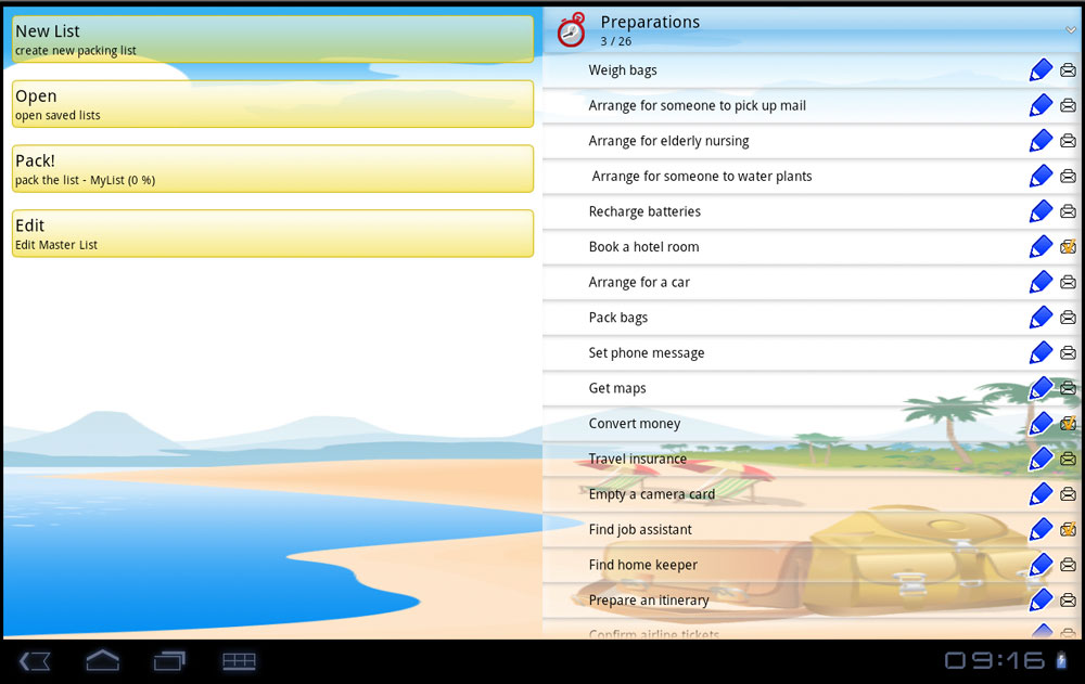 Fragment screen - uPackingList app for Android 3.0