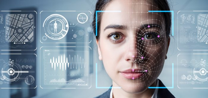 Authentication by facial recognition concept. Biometric. Security system.